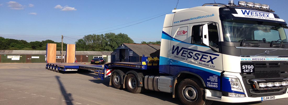 Plant Hire - Wessex Demolition Volvo Low Loader in yard